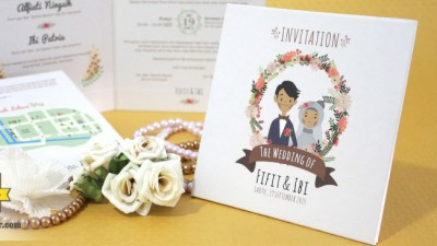Kartu Undangan Nikah Vintage Kartun